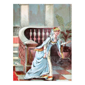 Vintage Drawing: Cinderella and the Glass Slipper Postcard
