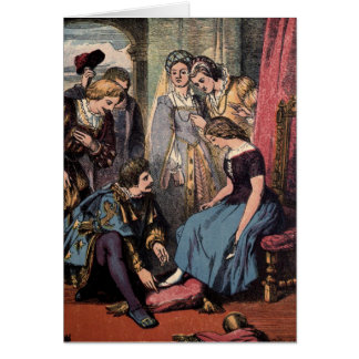 Vintage Drawing: Cinderella and the Prince Card