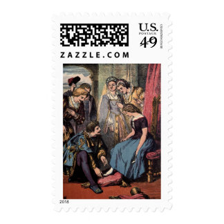 Vintage Drawing: Cinderella and the Prince Postage