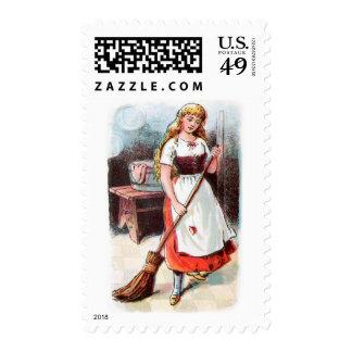 Vintage Drawing: Cinderella Sweeping the Floor Postage Stamps