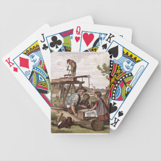 Vintage Drawing: Construction Workers Bicycle Playing Cards