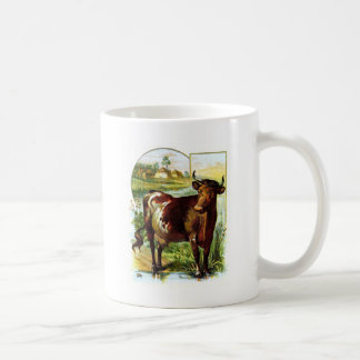 Vintage Drawing: Deep Red Cow Coffee Mug