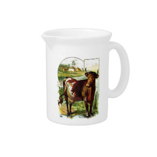 Vintage Drawing: Deep Red Cow Pitchers
