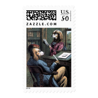 Vintage Drawing: Dogs in the Library Postage