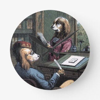 Vintage Drawing: Dogs in the Library Round Clock