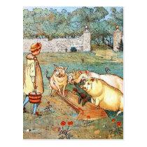 Vintage Drawing: Feeding the Pigs Postcard