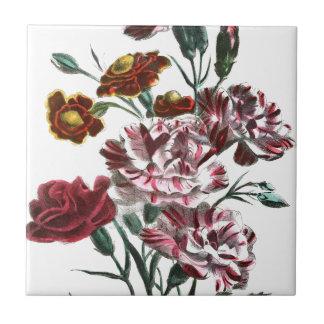 Vintage Drawing: Flemish Pink Flowers Ceramic Tile