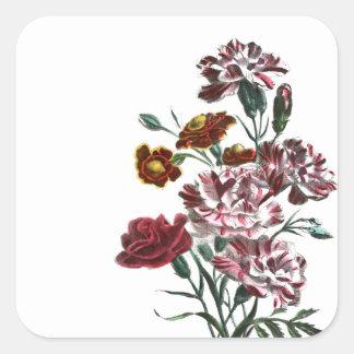 Vintage Drawing: Flemish Pink Flowers Square Sticker