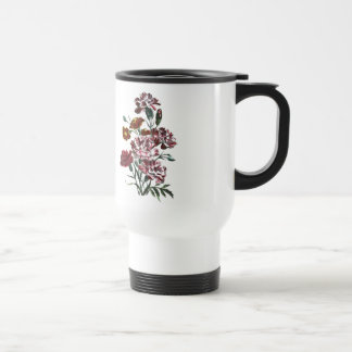 Vintage Drawing: Flemish Pink Flowers Travel Mug