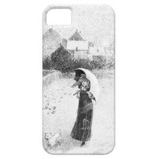 Vintage Drawing: Girl, Umbrella, Dog In Snow iPhone SE/5/5s Case