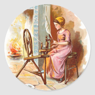 Vintage Drawing: Girl with a Spinning Wheel Classic Round Sticker
