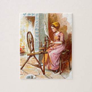 Vintage Drawing: Girl with a Spinning Wheel Jigsaw Puzzle