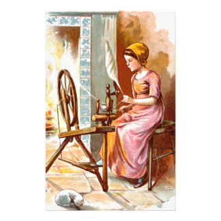Vintage Drawing: Girl with a Spinning Wheel Stationery