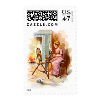 Vintage Drawing: Girl Working on a Spinning Wheel Postage