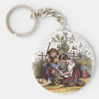 Vintage Drawing: Girls in the Veggie Garden Basic Round Button Keychain