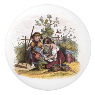 Vintage Drawing: Girls in the Veggie Garden Ceramic Knob
