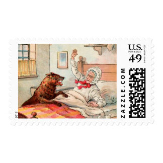 Vintage Drawing: Grandma and the Wolf Stamp