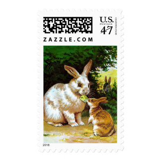 Vintage Drawing: Little Bunnies Postage