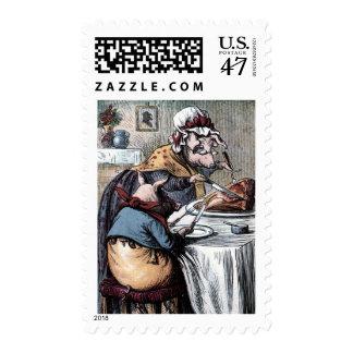 Vintage Drawing: Little Piggy Eating Ham Postage Stamp