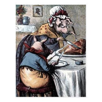 Vintage Drawing: Little Piggy Eating Ham Postcard