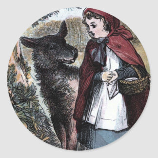 Vintage Drawing: Little Red Ridinghood and Wolf Classic Round Sticker