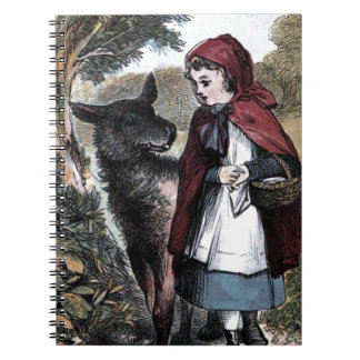 Vintage Drawing: Little Red Ridinghood and Wolf Spiral Notebook