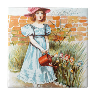 Vintage Drawing: Mary's Flower Garden Tile