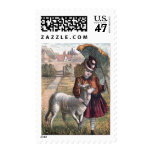 Vintage Drawing: Mary's Little Lamb Postage Stamp