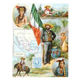 Vintage Drawing: Mexico Collage Postcard