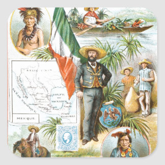Vintage Drawing: Mexico Collage Square Sticker