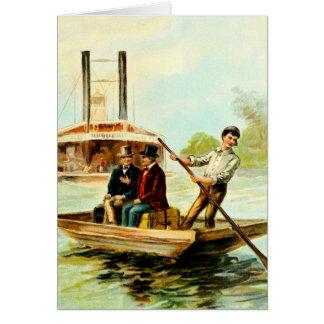 Vintage Drawing: Mississippi Boat Card