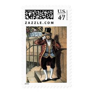 Vintage Drawing: Monkey in a Suit Postage Stamp