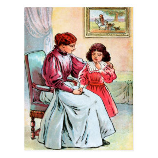 Vintage Drawing: Mother and Daughter Postcard