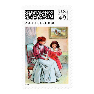 Vintage Drawing: Mother and Daughter Stamp