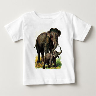 Vintage Drawing: Mother Elephant with Calf Baby T-Shirt