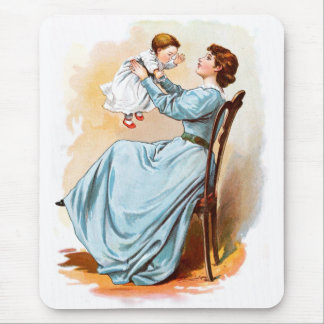 Vintage Drawing: Mother with Baby Girl Mouse Pad