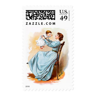 Vintage Drawing: Mother with Baby Girl Stamp
