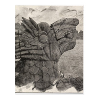 Vintage Drawing of a Dragon of Halong Bay, Vietnam Postcard