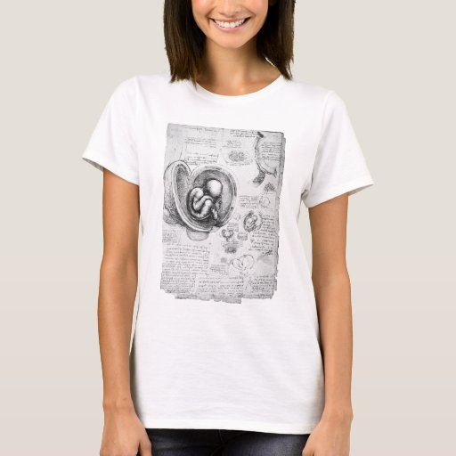 Vintage drawing of a fetus in the uterus 1 T-Shirt