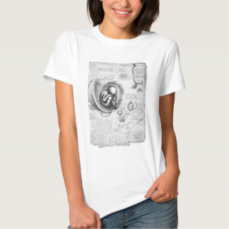 Vintage drawing of a fetus in the uterus 1 tees