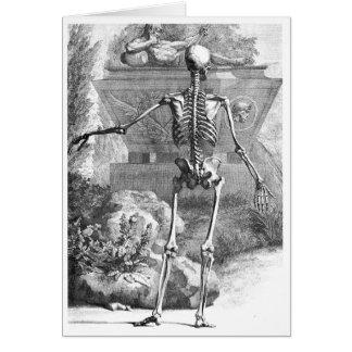 Vintage drawing of a rear facing skeleton greeting card