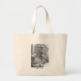 Vintage drawing of a rear facing skeleton jumbo tote bag