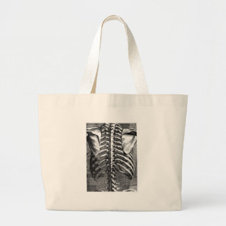 Vintage drawing of a spine and ribcage jumbo tote bag