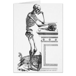 Vintage drawing of a standing skeleton greeting card