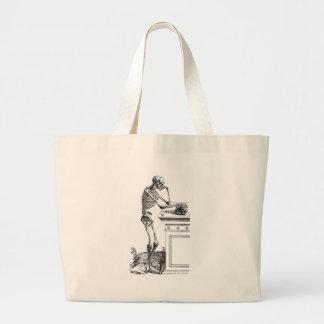 Vintage drawing of a standing skeleton jumbo tote bag