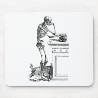 Vintage drawing of a standing skeleton mouse pads