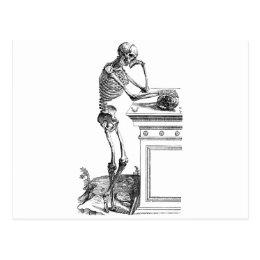 Vintage drawing of a standing skeleton postcard