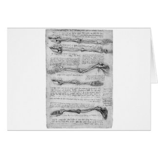 Vintage drawing of arm structure greeting card