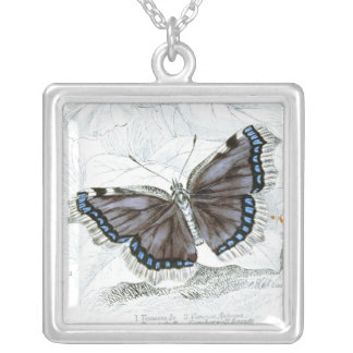 Vintage drawing of British-Butterfly Square Pendant Necklace