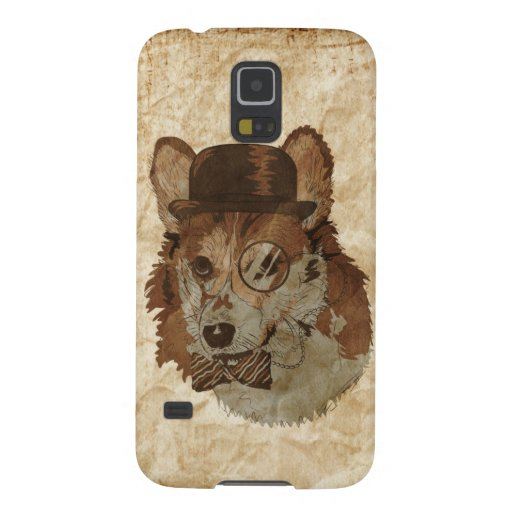 Vintage Drawing of Corgi with hat monocle and bowt Galaxy S5 Covers